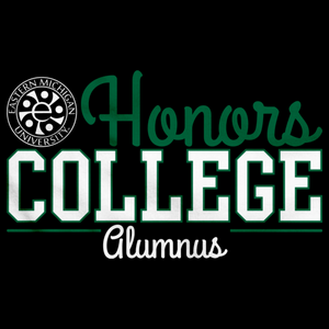 Alumnus Green and White Ink Stacked